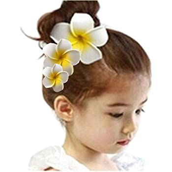 Rosa Q4Q2 Women Girls Plumeria Flower Foam Hair Clip