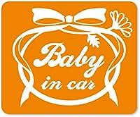 imoninn BABY in car ステッカー 【マグネットタイプ】 No.29 お花リボン (オレンジ色)