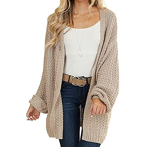 Vertvie Damen Strickjacke Front öffnen Strickcardigan Langarm Sweater Strickmantel Cardigan Leichte Freizeitjacke Outwear für Frauen(Khaki,L)