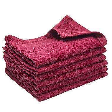 6 Pack - 11x18 Terry Velour Fingertip Towels 1.5# (BURGUNDY - BG1118-H-6PK)