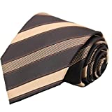 WITZROYS Men's Classic Brown and Gold Stripe Jacquard Woven Necktie Wedding Dress Suit Neck tie Regular size + Gift box
