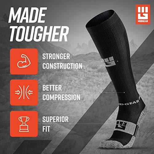 MudGear Premium Compression Socks - Run, Hike, Trail, Recovery (Black/Gray-L)