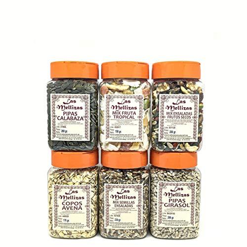 Las Mellizas Pack FITNESS | 6 unidades | Copos de avena-Pipas de girasol-Pipas de calabaza-Mix de fruta tropical-Mix de frutos secos para ensaladas y Mix de semillas para ensaladas