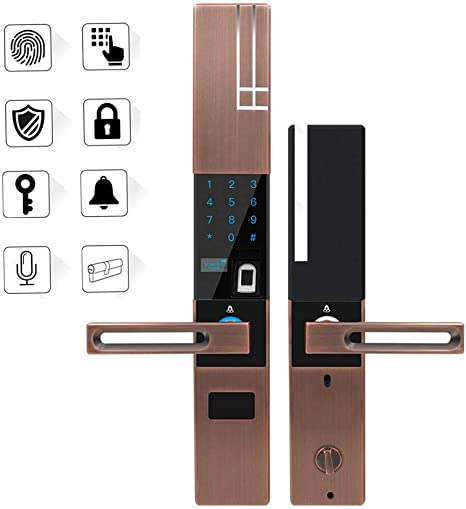 Amazon Com Aoeiuv Smart Lock For Outside Door Biometric Digital Bluetooth Electronic Fingerprint Door Lock Keyless Bedroom Office Touch Screen Digital Password Lock Key Brown Home Kitchen