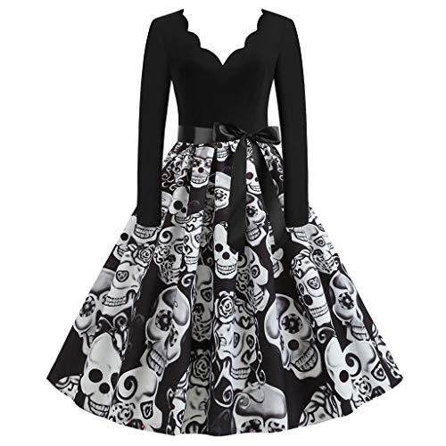 Damen Elegant Halloween Kleider Langarm Vintage Hepburn Cocktailkleid Halloween Druck Partykleid Swing Kleid Rundhals Dress Pullover Sweatshirt Sakko Blazer mit Pumps