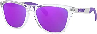 OO9428F Frogskins Mix Asian Fit Round Sunglasses, Polished Clear/Violet Iridium, 55 mm