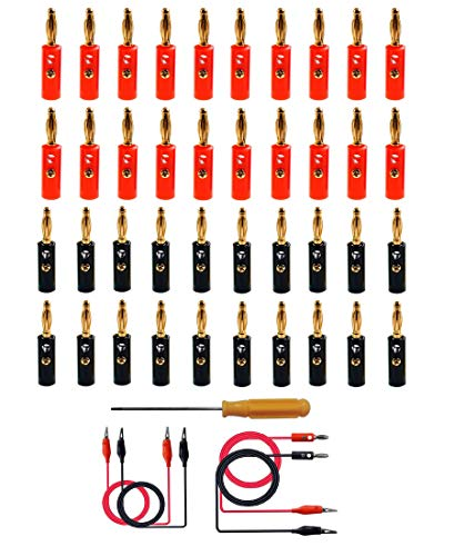 HUAYAO 40 Piezas 4 mm Conector para Banana Speaker, Banana Connector Gold Plated, Conector de Cable de Altavoz de Audio Chapado en Oro de 4 mm con Conector Banana (Tipo A)
