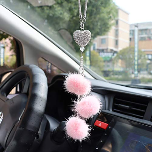 Bling Car Mirror Accessories for Women & Men, Bling Love Heart and Pink Plush ball Bling Rinestones Diamond Car Accessories, Rear View Mirror Crystal Heart Charm Decor.