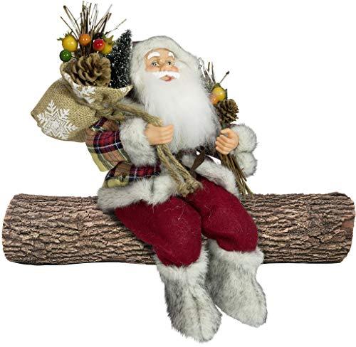 Christmas Paradise Weihnachtsmann Santa Nikolaus Tristan Kantenhocker mit schönem Gesicht und vielen Details/Größe ca.45cm / gelber Karomantel, gelbe Karomütze, rote Hose, Fellstiefel - Trendyshop365