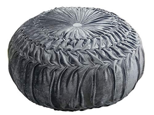 casamia Cojín de Suelo Redondo, Terciopelo, 45 cm de diámetro, Altura 30 cm, Color Plata