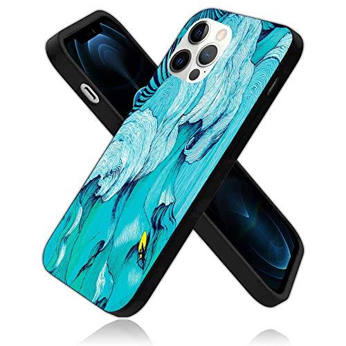 Waves and Surf Design - Funda protectora para iPhone 12 Pro Max, diseño de ondas dibujadas a mano, silicona a prueba de golpes (con forro antiarañazos), color azul marino (6.7 pulgadas)