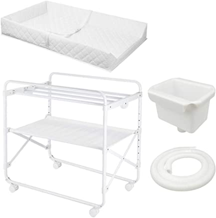 ZAQI Foldable Baby Changing Table for Bathroom  Girl Boy Large Changing Station Wheels  White  85x50x110cm