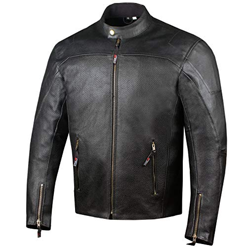 Men's Airflow Perforated Leather Protected Motorcycle CE Armor Biker Jacket L