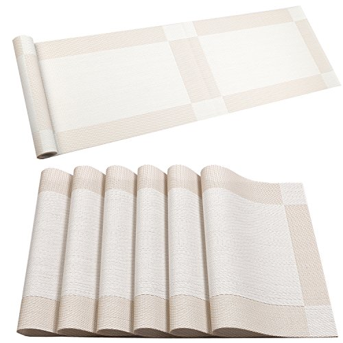 U'Artlines Placemat with Compatible Table Runner, Crossweave Insulation Placemat Washable Table Mats Set (6pcs placemats+Table Runner, Cream White)
