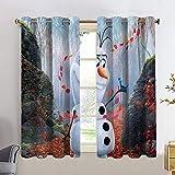 Cortinas opacas para dormitorio de Frozen, Anna Elsa, cortinas opacas para habitación de niños, 55 x 63 cm