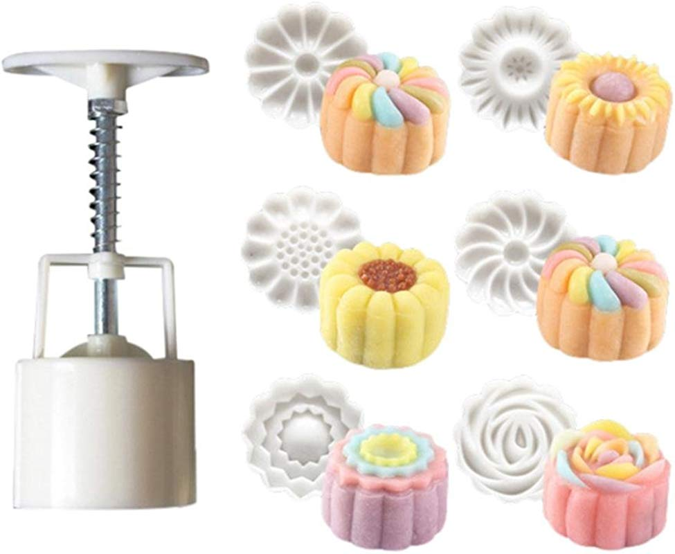 Gessppo Molde De Pastel 6 Style Stamps 50g Round Flower Moon Cake Mold Mould White Set Mooncake Decor Tool Kitchen Tool Baking Tool For Home Kitchen