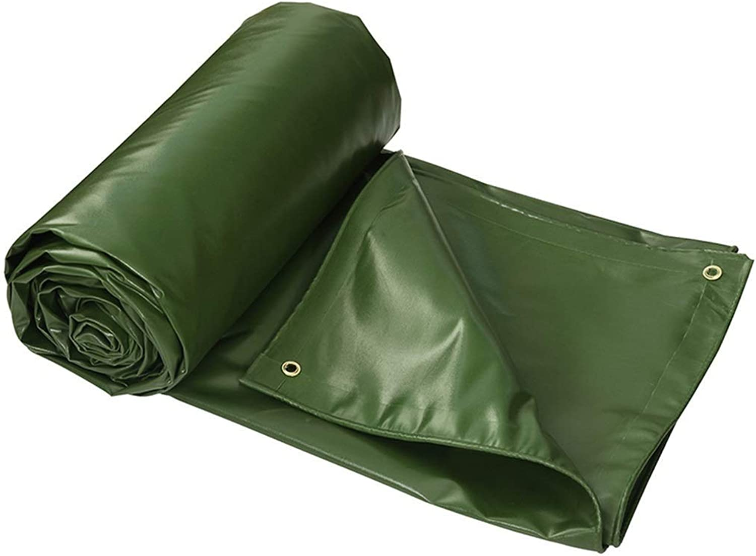 GJ@ Heavy Duty Tarp,Thick Waterproof, UV Resistant,with Grommets and Reinforced Edges,for Cars, Boats, Construction Contractors, Campers, and Emergency Shelter (color  Green)