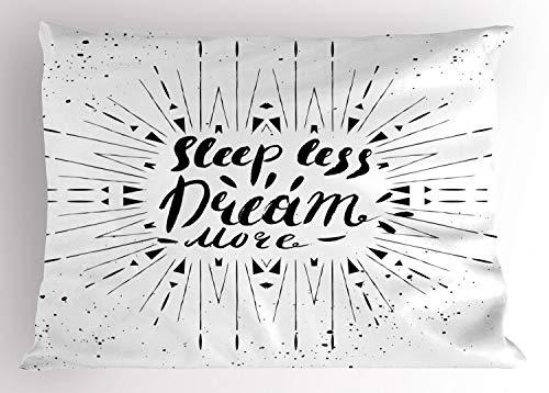 ABAKUHAUS Gezegde Siersloop voor kussen, Sleep Less Dream Meer Text, standaard maat bedrukte kussensloop, 75 x 50 cm, Zwart en wit