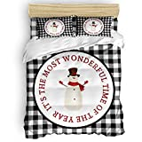 Amaze-Home Happy Snowman 4 Pieces Bedding Sets California King Flannel Duvet Cover Sheet Bedspread with 2 Decorative Pillow Shams for Bedroom Dorm Hotel Merry Christmas Winter Holiday