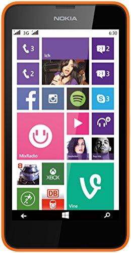 Nokia Lumia 630 Dual-SIM Smartphone, Display 4,5 Pollici, Fotocamera 5 MP, HD-Ready Video, 1,2GHz Quad-Core, Windows Phone 8.1, Arancione [Germania]