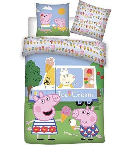 Peppa Pig - Juego de cama infantil (100 x 135 + 40 x 60 cm, 100% algodón)