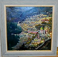 絵画 油絵 サンツォーネ(イタリア) 作「イタリア・アマルフィの夜景②」インテリア