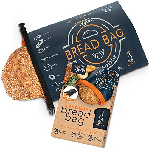 Think4earth – Linen Bread Bag - Reusable freezer bread bag for homemade bread maker gift giving - Bread Container for Sourdough Loafs Storage, Large Bread Bags for Homemade Bread with Double Lining