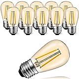 Suncan Bombilla LED Edison S14 E27, 2 W = 10 W, estilo vintage, cristal ámbar, blanco cálido 2700 K, ángulo de haz de 360°, no regulable, 10 unidades