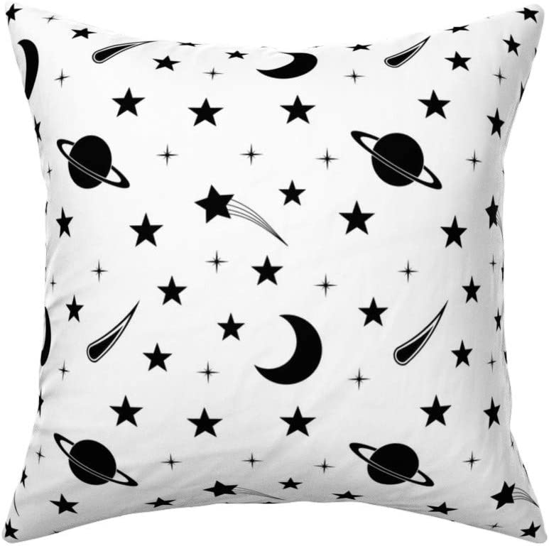 Amazon Com Roostery Throw Pillow Celestial Starry Night Starry Sky Black And White Stars Stars Planetary Night Sky Print Linen Cotton Canvas Knife Edge Accent Pillow 18in X 18in Optional Insert Home Kitchen