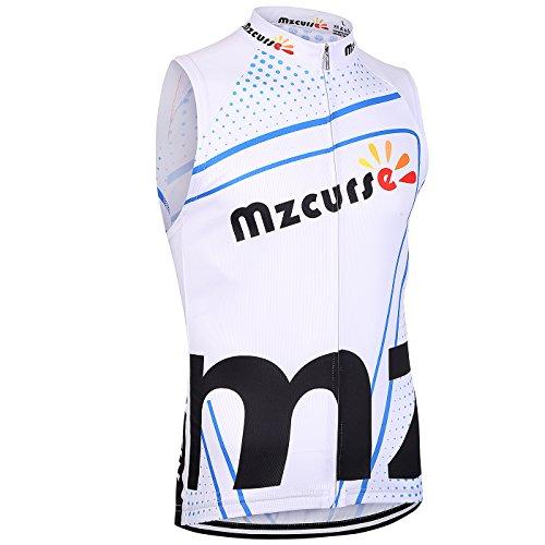 Mzcurse Men's Sleeveless Wind Vest Jersey Shirt Tank Tops Tees Zipper Elastic (White , XX-Large,please check the size chart)