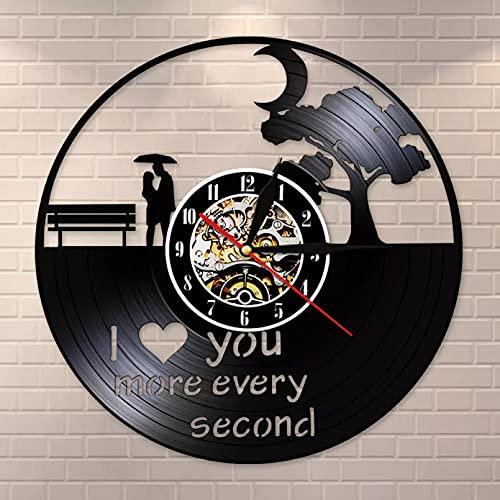 WTTA Reloj de pared con diseño de texto en inglés 'I love you more every second vintage de vinilo record, romántico, decoración del hogar, reloj de pared, regalo de cumpleaños
