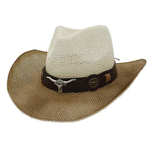 Xingyue Aile Hoeden & Caps Mannen Vrouwen Zee Visor Strand Zonnehoed, Outdoor Western Cowboy Hat, Schilderij Denim Koe Hoofd Nationale Wind Straw Zonnehoed
