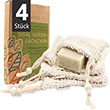 ecopura® Sisal Seifensäckchen - 4er Set Seifenbeutel für Seifen & Seifenreste, Ideal zum...