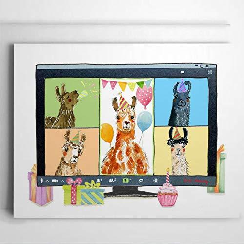 Quartantänische Geburtstagskarte mit lustigem Lamas-Zoom, virtuelle Geburtstagseinladungen, personalisierbare Geburtstagskarten, Grußkarten mit Umschlägen, lustige Karte, 25,4 x 17,8 cm, il082