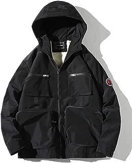 ZDLIlian Men's Jacket Winter Hooded Multi-Pocket Workwear Casual Thicken Lamb Fur Jacket