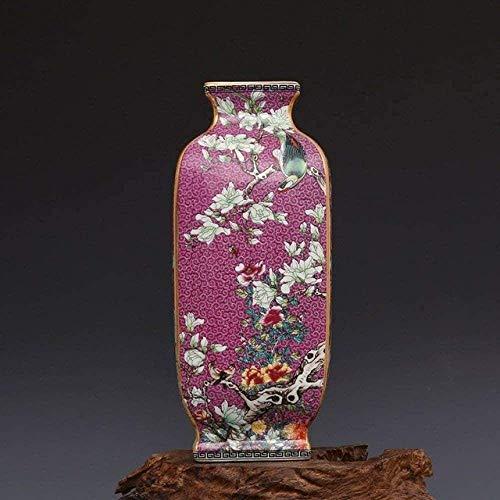 Jarrones Decoración Esmalte Flor Y Pájaro Cuadrado Porcela