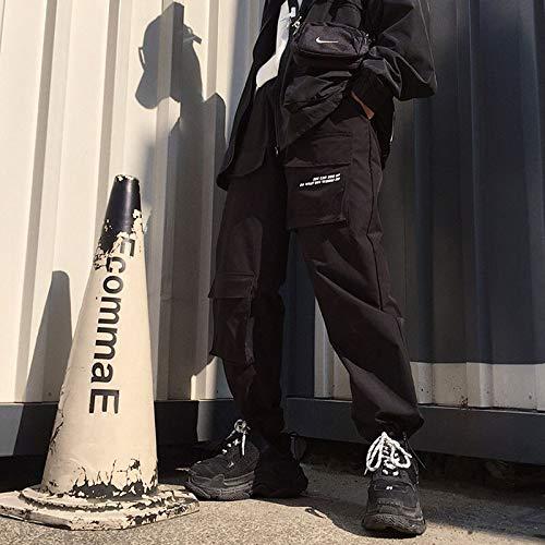 haochenli188 Hip Hop Mujer Pantalones Cargo SóLidos Primavera Casual Pantalones Morados/Negros Pantalones De Cintura Alta Pantalones De CháNdal De Bolsillo para Mujer Largos Talla úNica Negro