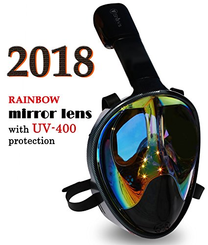 Full Face Mask For Snorkeling- Easy Breath- 180? Panoramic Seaview- Rainbow Mirror Lenses HD- Design Scuba Mask- Anti-Leak & Anti-Fog- Adjustable Silicone Straps