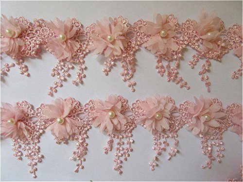 1 Yard 3D Flower Tassel Fringe Pearl Lace Edge Trim Ribbon 9 cm Width Vintage Style Pink Edging Trimmings Fabric Embroidered Applique Sewing Craft Wedding Dress Embellishment DIY Clothes Embroidery