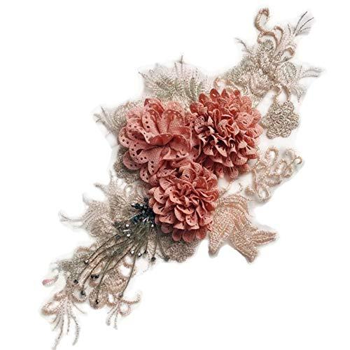 Ellepigy - Parche de fieltro con diseño de flores y encaje para álbumes de recortes, no tejido, para coser en apliques de fieltro para manualidades, costura, decoración artesanal