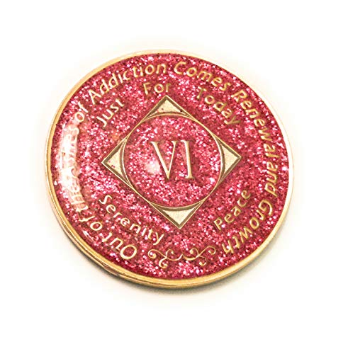 6 Year NA Pink Glitter Bling, Glitter, Recovery, Clean, Medallion - Chip, Coin, Token