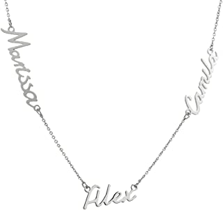 925 Sterling Silver Personalized Name Necklace Custom Name Plate Necklace - One, Two,Three or More Names Necklace for Women Girls