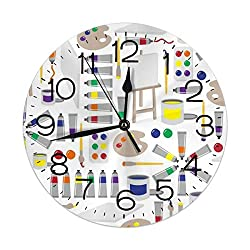 FEAIYEA Wall Clock Paint Painter's Palette Decorative Wall Clock Silent Non Ticking - 9.8Inch Round Easy to Read Decorative for Home/Office/School Clock