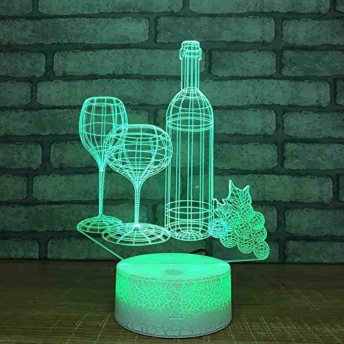 CDBAMX kerstdecoratie glas 3D wijnglas tafellamp kleurrijk LED nachtlampje