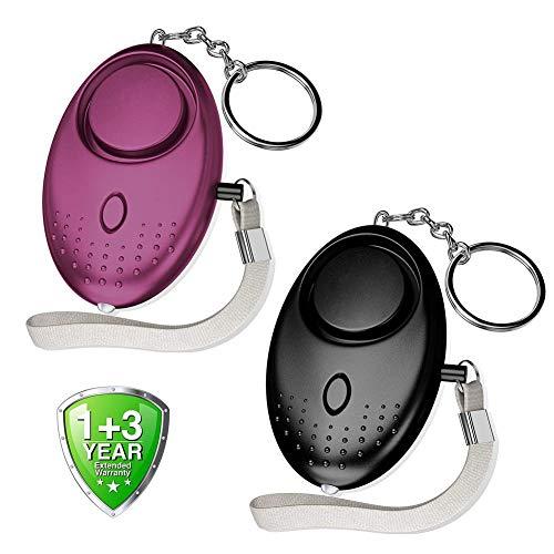 Abree Lot de 2 Alarme Personnelle Porte-clés 140 db Police Approuvé Mini Loud Auto Defense Keychain avec Torche Alarme de Sécurité pour Femme Enfants Personnes Agées Aventurier