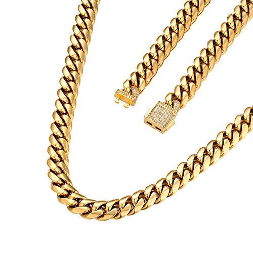 AYOUYA KRKC&CO 12/18mm Herren Cuban Link Chain Halskette, 18K Gold Vergoldet/Silbrig Panzerkette Edelstahl mit Iced Out Verschluss, Cuban Link Kette Hip Hop für Männer Jungen(12mm-Golden,61cm)