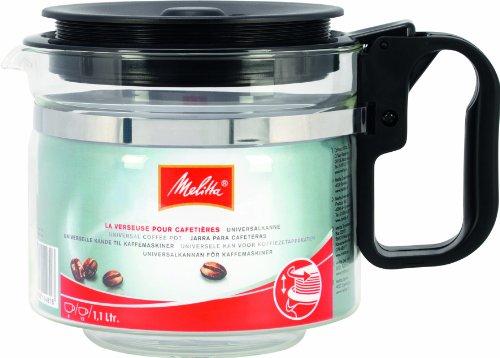 Melitta - Jarra para cafeteras, 1.2 litros, color transparente y negro