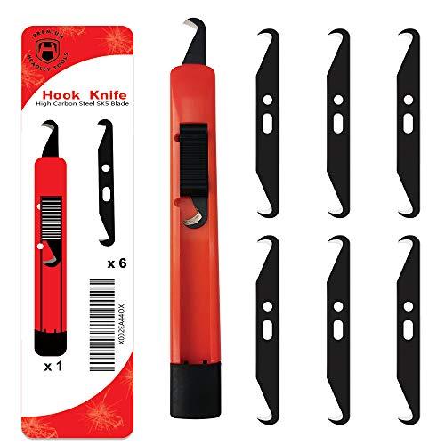 Headley Tools Golfschläger-Griffentferner-Werkzeug, Hakenmesser zum Umgreifen von Golfschlägern, beinhaltet: (6 x Hakenklingen, 1 x einziehbarer Golfgriff, Golfschlägergriff-Griffmesser.