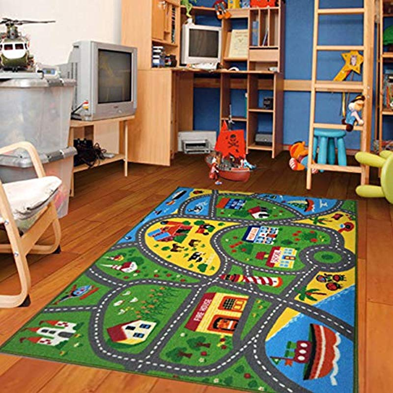 Furnish My Place City Street Map Children Learning Carpet Play Carpet Kids Rugs Boy Girl Nursery Bedroom Playroom Classrooms Play Mat Children S Area Rug