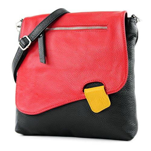 modamoda de - T146 - ital Messengertasche Umhängetasche aus Leder, Farbe:Schwarz/Rot/Gelb